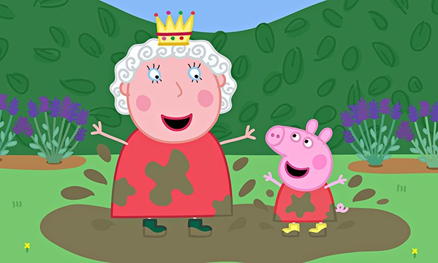 Peppa Pig puts her foot in it. The Queen is amused, are you?