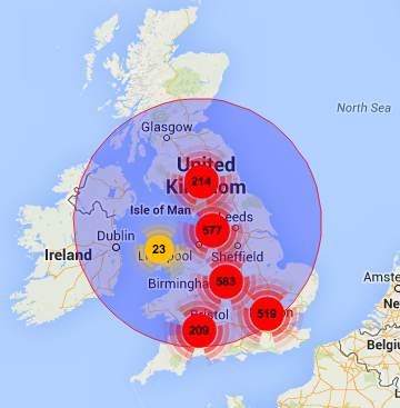UK coverage using geocode and radius setting