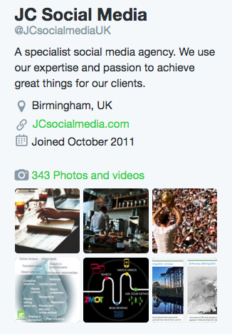 Twitter profile optimisation