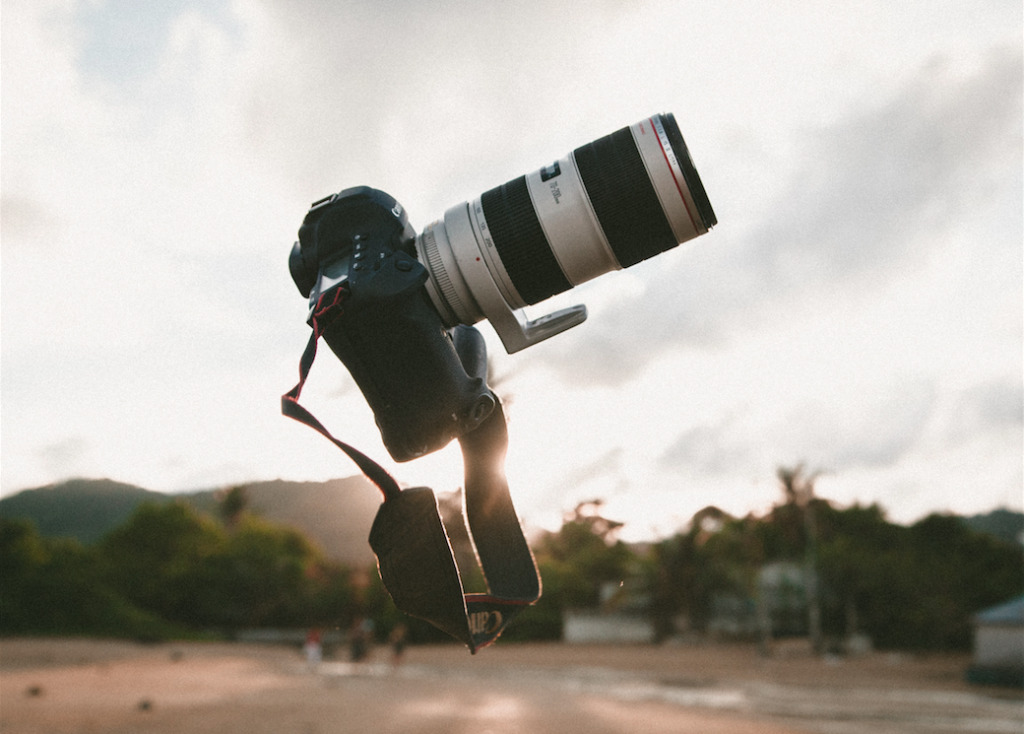 Picture of a camera in the air. Great imagery for a blog post.