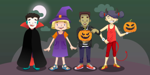 Halloween themed social media graphics featuring the Clever Tykes characters in full fancy dress.