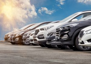 A fleet of cars in a car park