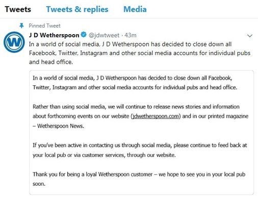 JD Wetherspoon's tweet with statement about closing their social media accounts