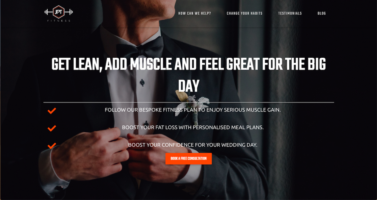 Landing page development for fitness company