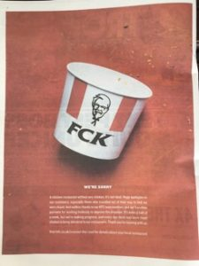 KFC's full page ad in the Sun newspaper FCK