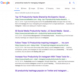 """Google search results for """"productivity hacks for managing Instagram"""""""