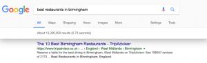 TripAdvisor result for best restaurants in Birmingham