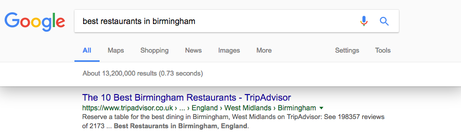 TripAdvisor result for best restaurants in Birmingham