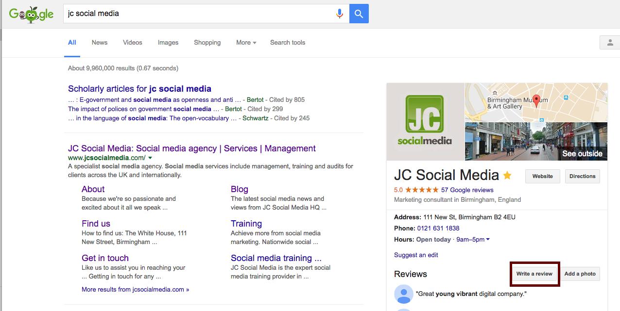 JC Social Media google review