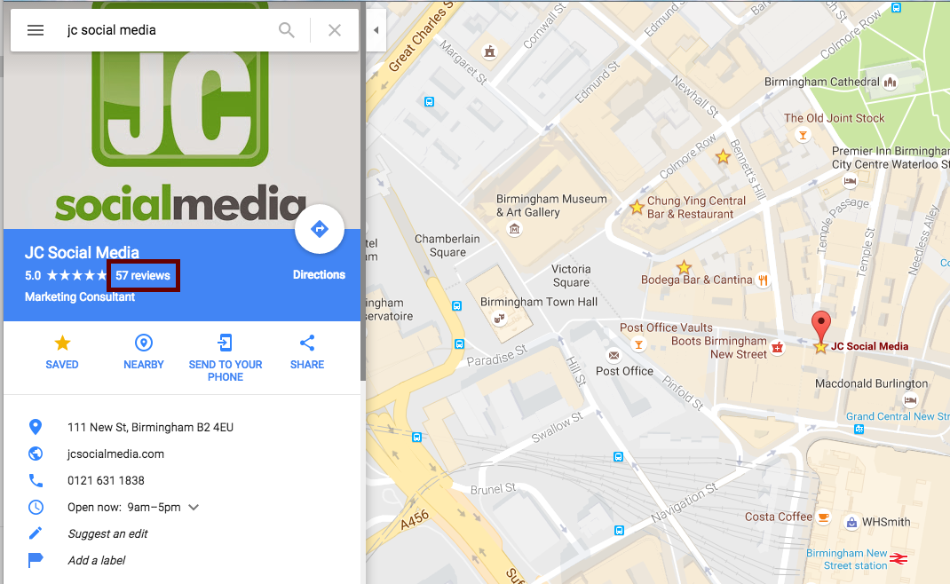 JC Social Media google review maps