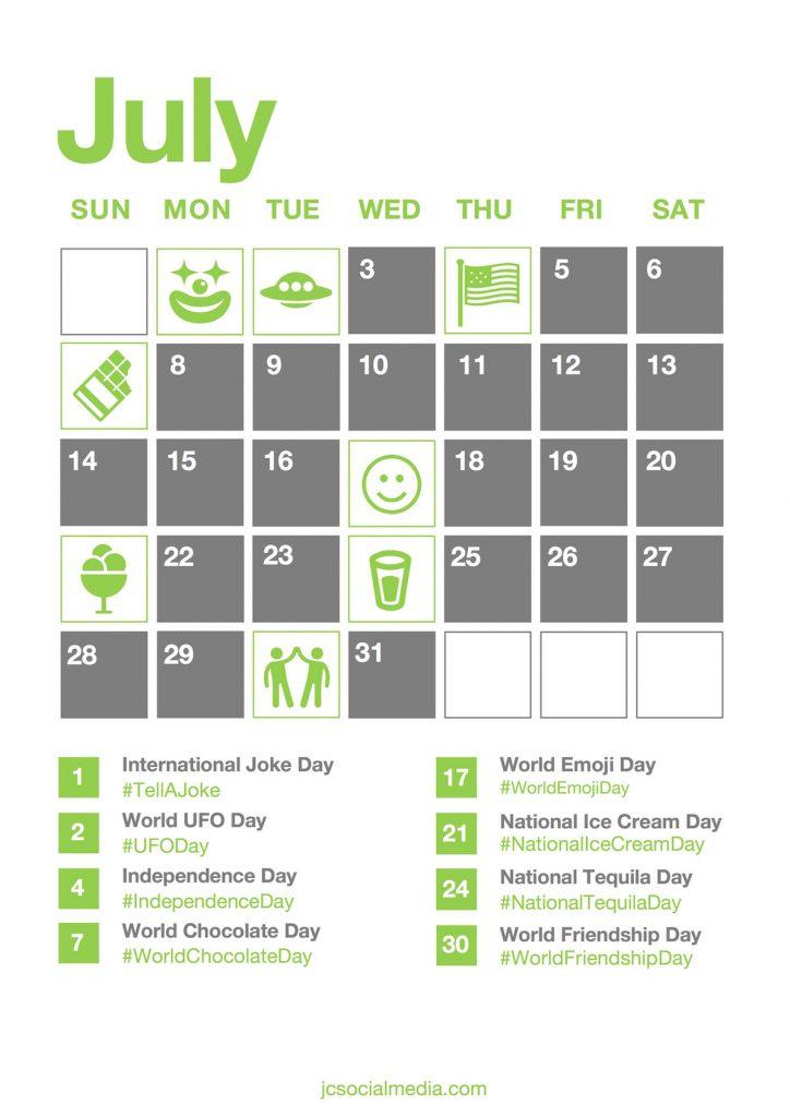 Social Media National Days Calendar 2019 | JC Social Media - Social