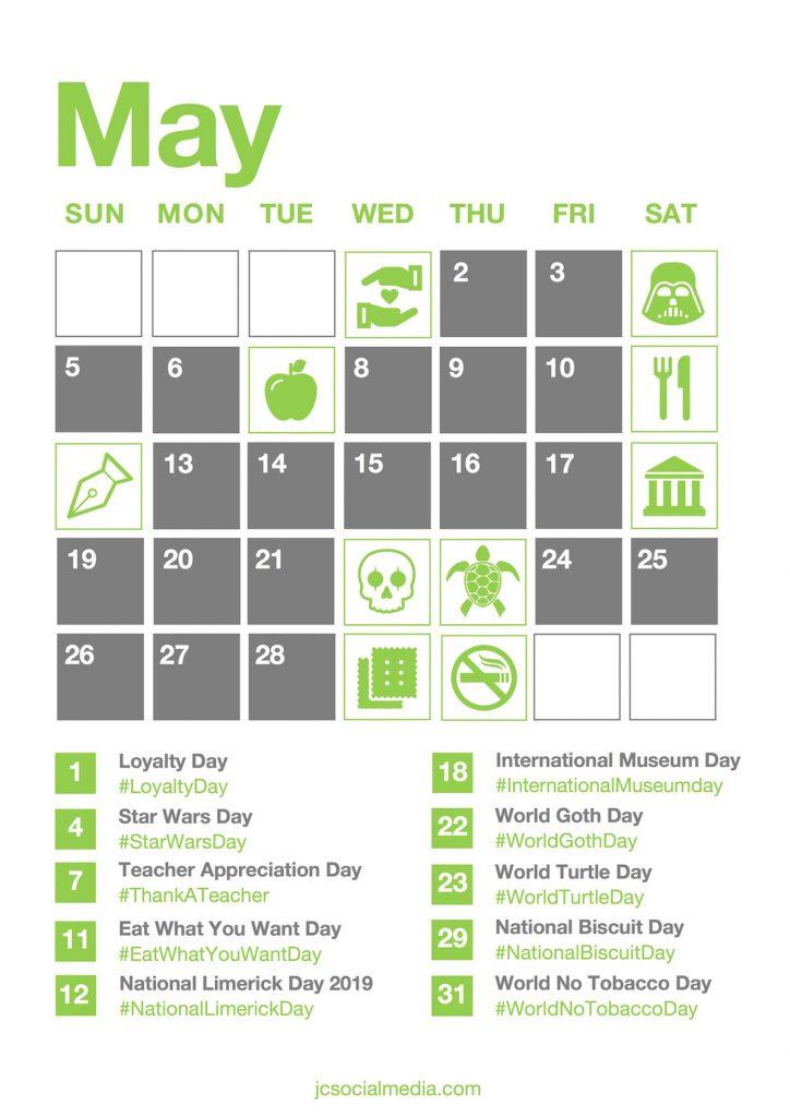 Social Media National Days Calendar 2019 | JC Social Media