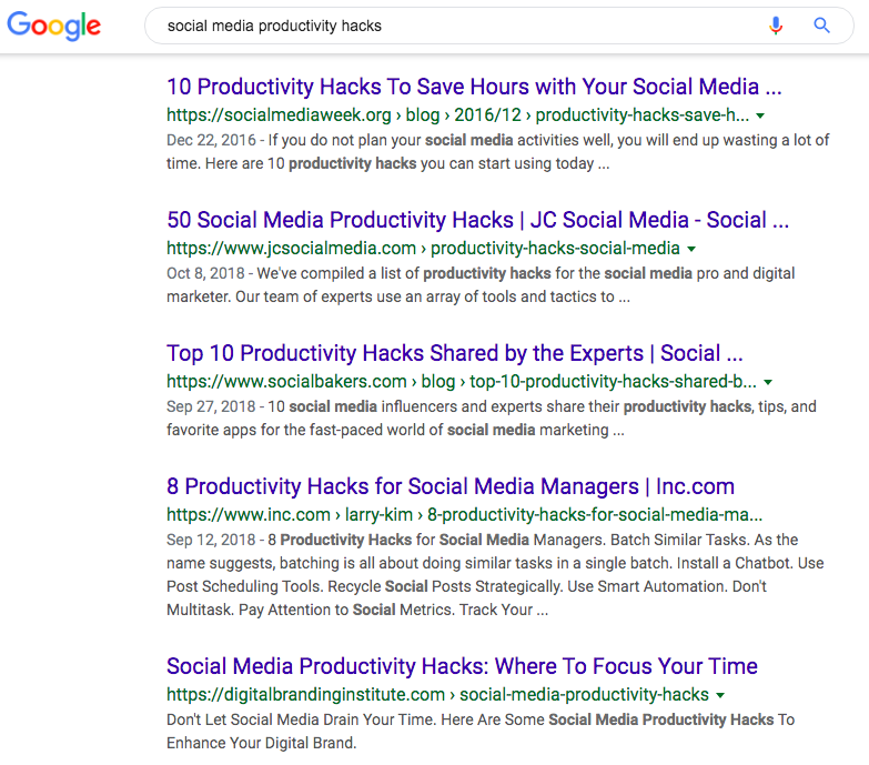 "Google results for the search term ""social media productivity hacks"""