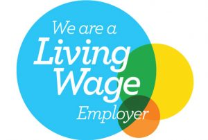 The 'Living Wage employer' logo JC Social Media received as an living wage employer