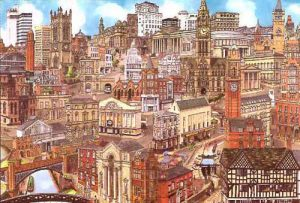 Manchester cityscape, showing all the businesses using social media