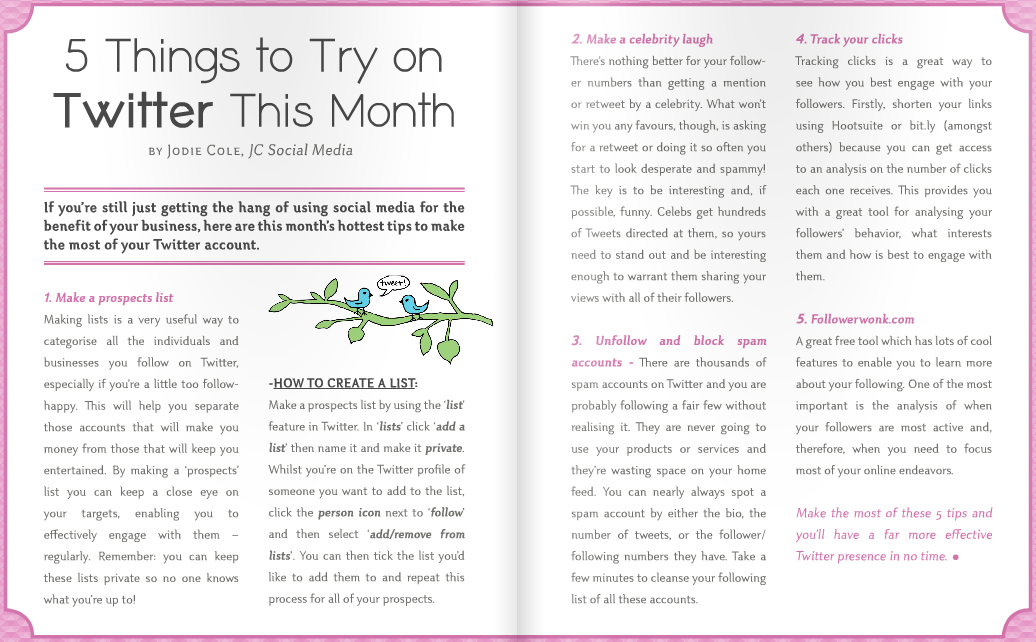 """5 Things to try on Twitter"" article in FEA magazine"